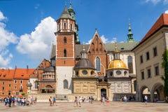 克拉科夫波兰 Wawel历史的皇家城堡和大教堂 免版税库存照片