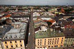 克拉科夫老镇的一张鸟瞰图  库存照片