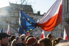 克拉科夫,大广场-民主的保护的委员会的示范 免版税库存照片