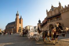 克拉科夫,波兰-在主要集市广场的支架 免版税库存照片