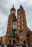 克拉科夫,波兰- 2012年6月:StMary ` s大教堂 库存图片
