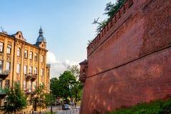 克拉科夫,波兰- 2012年6月:WAWEL城堡墙壁 免版税图库摄影