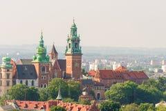 克拉科夫,波兰- 2017年8月11日:中世纪Wawel Cas的看法 免版税库存照片