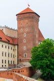 克拉科夫,波兰- 2017年8月13日:克拉科夫,砖Wawel城堡 库存照片