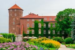 克拉科夫,波兰- 2017年8月13日:克拉科夫, Wawel城堡 免版税库存照片