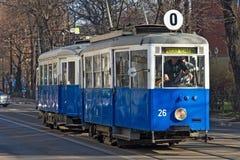 克拉科夫,波兰- 2017年3月28日:历史电车Konstal N 在1948-1956被生产了在企业Konstal在霍茹夫 库存照片