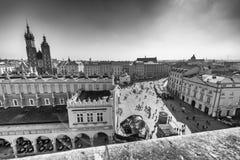 克拉科夫,波兰- 2017年10月1日:城市广场鸟瞰图  Kr 库存图片