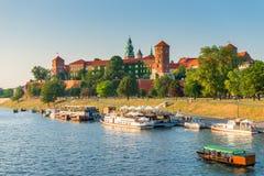 克拉科夫,波兰- 2017年8月11日:著名W的全景 免版税库存照片