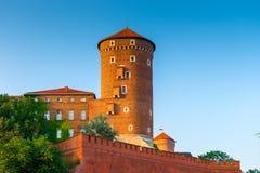 克拉科夫,波兰- 2017年8月11日:高砖塔- Wawel castl 免版税库存图片