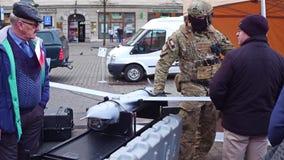 克拉科夫,波兰-战士1月, 14日, 2017特种部队展示现代无人侦察机 WOSP军事显示 图库摄影