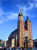 克拉科夫,波兰- 2015年4月10日:历史的圣玛丽的教会 图库摄影