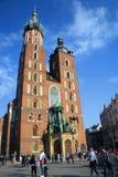 克拉科夫,波兰- 2015年4月10日:历史的圣玛丽的教会 库存照片