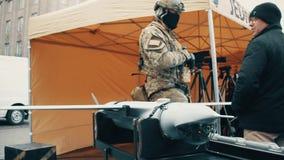 克拉科夫,波兰- 2017现代无人侦察机1月, 14, WOSP军事显示 库存照片