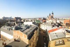 克拉科夫,波兰-老镇的屋顶的顶视图在中心 免版税图库摄影