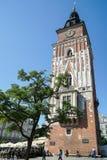 克拉科夫, POLAND/EUROPE - 9月19日:城镇厅平方塔的市场 免版税库存图片