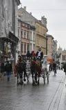 克拉科夫8月19,2014 :在克拉科夫,波兰街道上的支架  免版税图库摄影