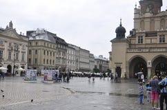 克拉科夫8月19,2014 :老正方形在克拉科夫市波兰 库存图片