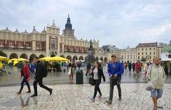 克拉科夫8月19,2014 :老正方形在克拉科夫市,波兰 库存照片