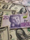 20克朗瑞典钞票和美国美金、背景和纹理 免版税库存照片
