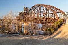 克林顿总统公园桥梁在小岩城,阿肯色 免版税库存照片