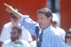 克林顿/戈尔1992年Buscapade竞选的戈尔参议员游览在托莱多,俄亥俄 免版税库存图片