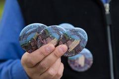 克林顿Kaine哈里斯堡王牌按钮的战区 免版税图库摄影