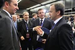 克罗Ð ¡ alenda,意大利的经济发展的大臣圣彼德堡国际经济论坛的 免版税库存图片