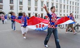 克罗地亚人扇动橄榄球足球小组 库存图片