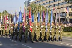 克罗地亚军队的军事欢乐游行 免版税库存照片
