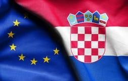 克罗地亚和欧盟旗子  免版税库存照片