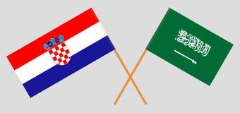 克罗地亚和沙特阿拉伯王国 克罗地亚人和KSA旗子 E r ?? 皇族释放例证