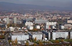 克罗地亚国家广播电台和电视大厦在萨格勒布 库存照片
