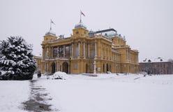 克罗地亚国家戏院在萨格勒布 免版税库存图片