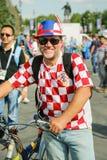 克罗地亚国家橄榄球队的微笑的爱好者 免版税库存照片