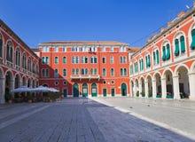 克罗地亚地中海宫殿分开的正方形 免版税库存照片