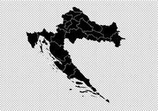 克罗地亚地图-上流详细的黑地图以县/克罗地亚的地区/状态 在透明背景隔绝的阿富汗地图 皇族释放例证