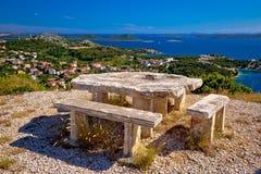 克罗地亚小山观点群岛  库存图片