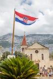 克罗地亚旗子在一个历史的城市 库存照片