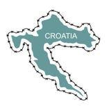 克罗地亚映射 国家关闭边境反对难民 地图  免版税库存图片