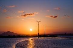 克罗地亚杜布罗夫尼克市海岛地点地中海最近的日落 库存图片