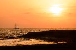 克罗地亚杜布罗夫尼克市海岛地点地中海最近的日落 免版税库存图片