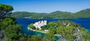 克罗地亚海岛mljet修道院 免版税库存照片