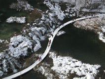 克罗地亚湖使plitvice冬天环境美化 库存图片