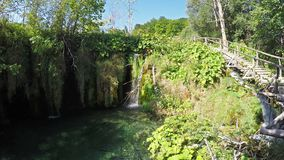 克罗地亚湖国家公园plitvice sostavtsy瀑布 股票录像