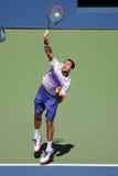 克罗地亚的全垒打冠军马林Cilic行动的在他的在美国公开赛的回合4比赛期间2015年在国家网球中心 库存照片