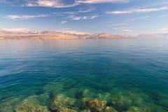 克罗地亚的海和海岸从Brac海岛的 库存照片