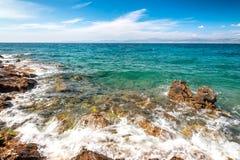 克罗地亚的海和海岸从Brac海岛的 免版税库存照片