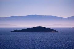 克罗地亚的令人惊讶的科纳提群岛海岛 达尔马提亚的北部 海景晴朗的细节从扎达尔的向希贝尼克 库存照片