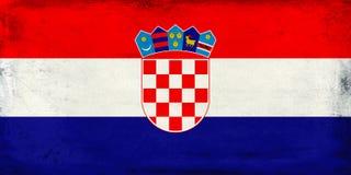 克罗地亚背景葡萄酒国旗  库存图片