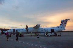 克罗地亚航空公司破折号Q400 9A-CQC 库存图片